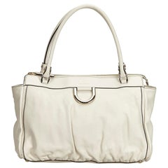 Gucci White Abbey D Ring Tote