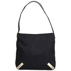 Fendi Black Canvas Shoulder Bag with Embossed Leather Strap