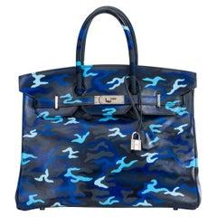 Hermes Blue Camo Birkin 35 One Of A Kind