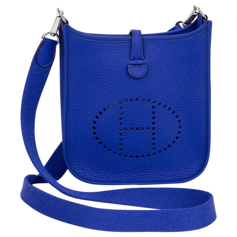 58e88234da8d New in Box Hermes Mini Evelyne Electric Blue Crossbody Bag at 1stdibs