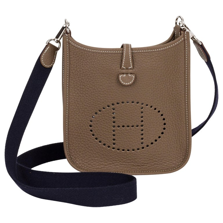 New in Box Hermes Mini Evelyne Etoupe Black Bag For Sale