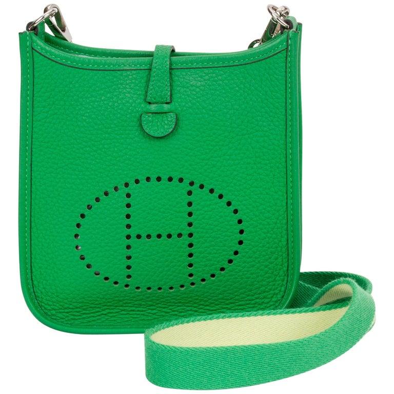 ccac6895 Hermes Mint Mini Evelyne Bamboo Bag