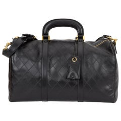 Chanel Rare Black Diamond Quilted Duffle Travel Bag