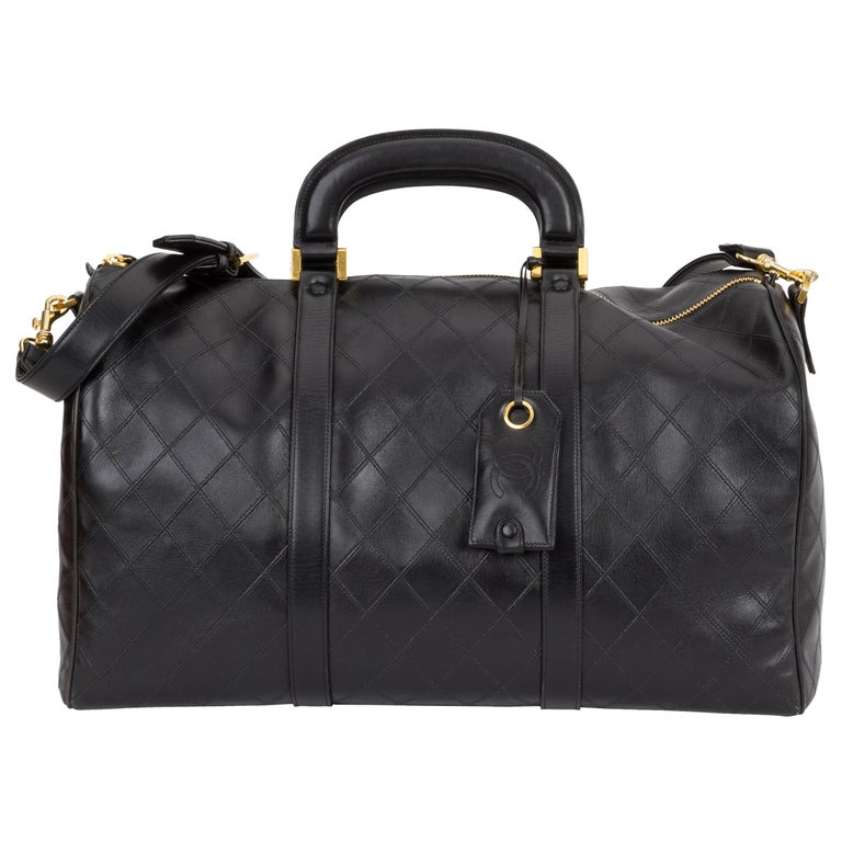 Chanel Rare Black Diamond Quilted Duffle Travel Bag For Sale