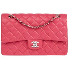 2014 Chanel Fuchsia Quilted Lambskin Medium Classic Double Flap Bag
