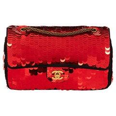 2010 Chanel Black Satin & Red Sequin Shanghai Medium Classic Double Flap Bag