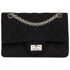 2013 Black Quilted Jersey Fabric 2.55 Reissue 224 Double Flap Bag