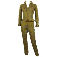 Jean Paul Gaultier Vintage Striped Zip-Front Utility Jumpsuit