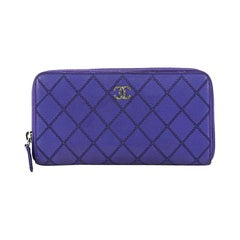 Chanel Double Stitch Zip Around Wallet Quilted Lambskin Long