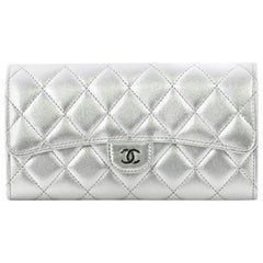 Chanel CC Gusset Classic Flap Wallet Quilted Lambskin Long
