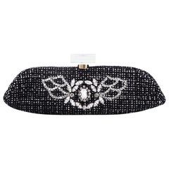 Chanel Perfume Bottle Evening Clutch Rhinestone Embellished Tweed