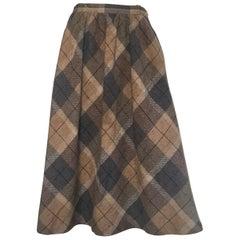 Oscar de la Renta 1980s Plaid Wool A Line Skirt with Pockets Size 4 / 6.