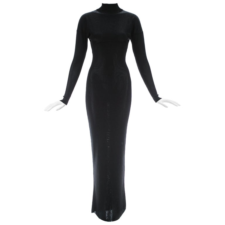 Azzedine Alaia black acetate knit figure hugging evening dress, A/W 1986 For Sale