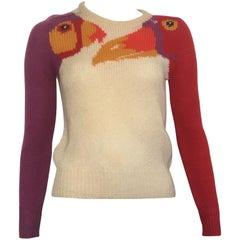 Krizia Maglia 1980s Exotic Birds Iconic Pullover Sweater Size Small.