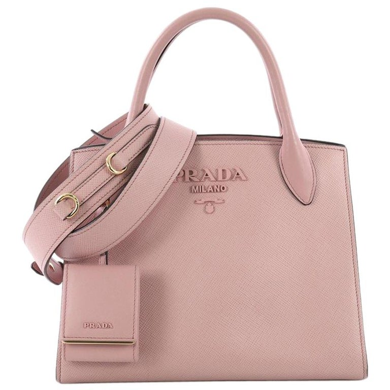 2a90cf61a18f Prada Monochrome Tote Saffiano Leather with City Calfskin Small For Sale