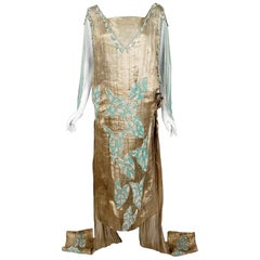 1927 French Couture Metallic Gold Lamé Beaded Leaf-Motif Trained Evening Dress