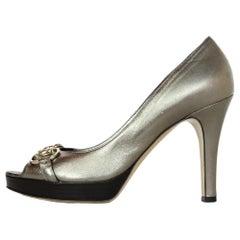 Gucci Bronze Metallic Open Toe Heel Pumps W/ Horsebit Buckle Sz 40