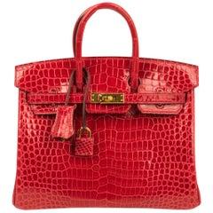 Hermes Birkin 25 Bag Braise Porosus Crocodile Gold Hardware Lipstick Red