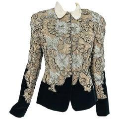 Krizia Black Velvet and Cream Lace Applique Jacket