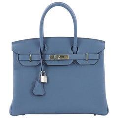 Hermes Birkin Handbag Azur Togo with Palladium Hardware 30