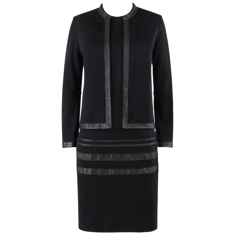 RUDI GERNREICH c.1960s 2 Pc Wool Knit & Leather Open Jacket Shift Dress Suit Set For Sale