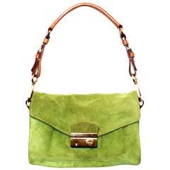Prada Suede Lime Green Shoulder Bag