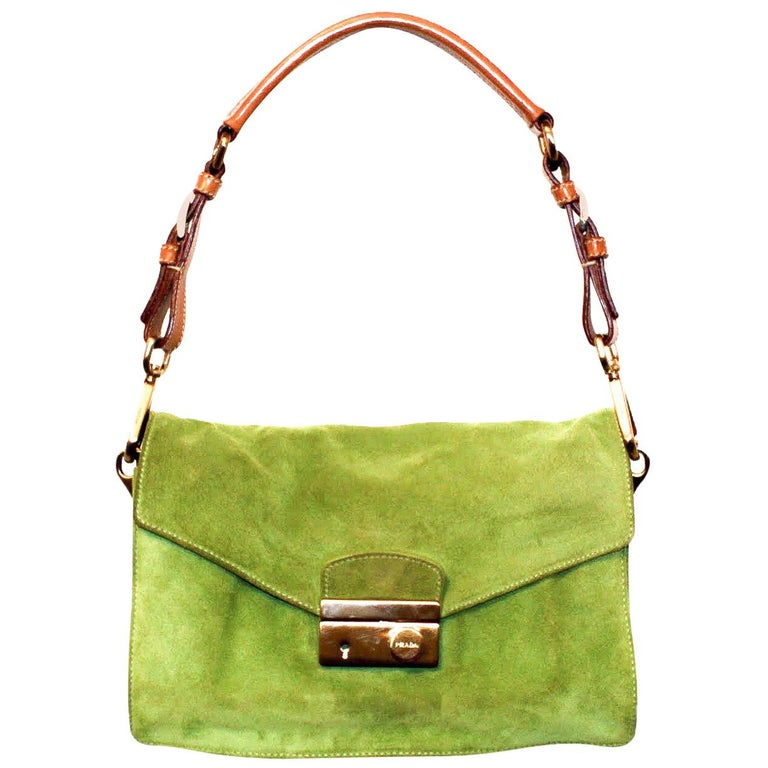 3ea75d1f73ff0b Prada Suede Lime Green Shoulder Bag at 1stdibs