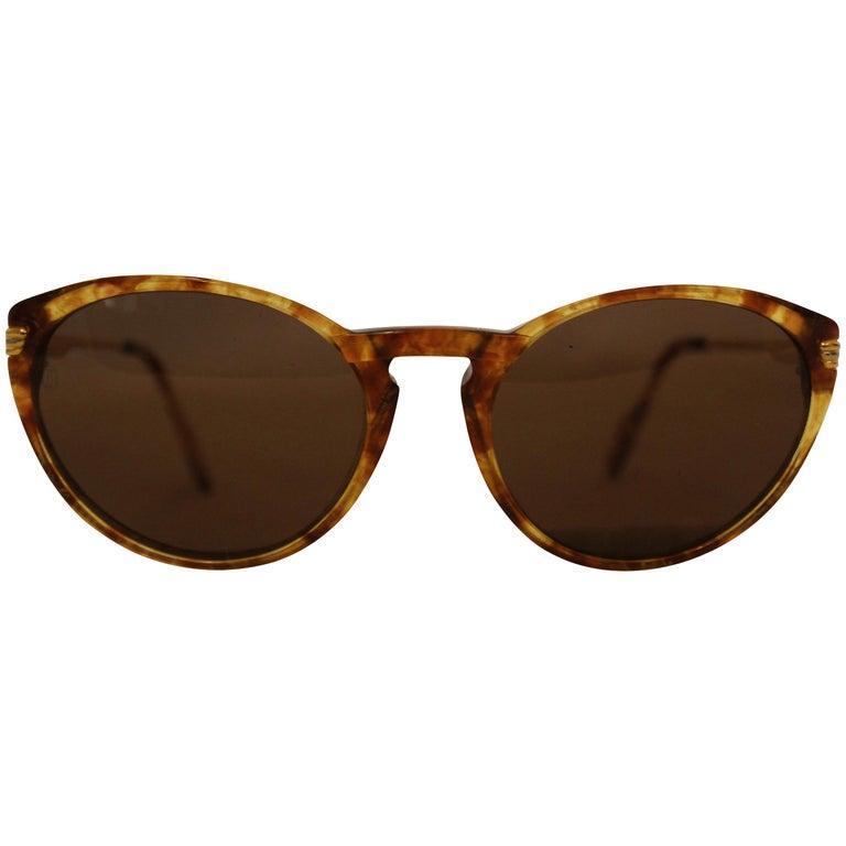 Cartier Tortoise Shell Motif Sunglasses  Gold Tone Details 135 Temples For Sale