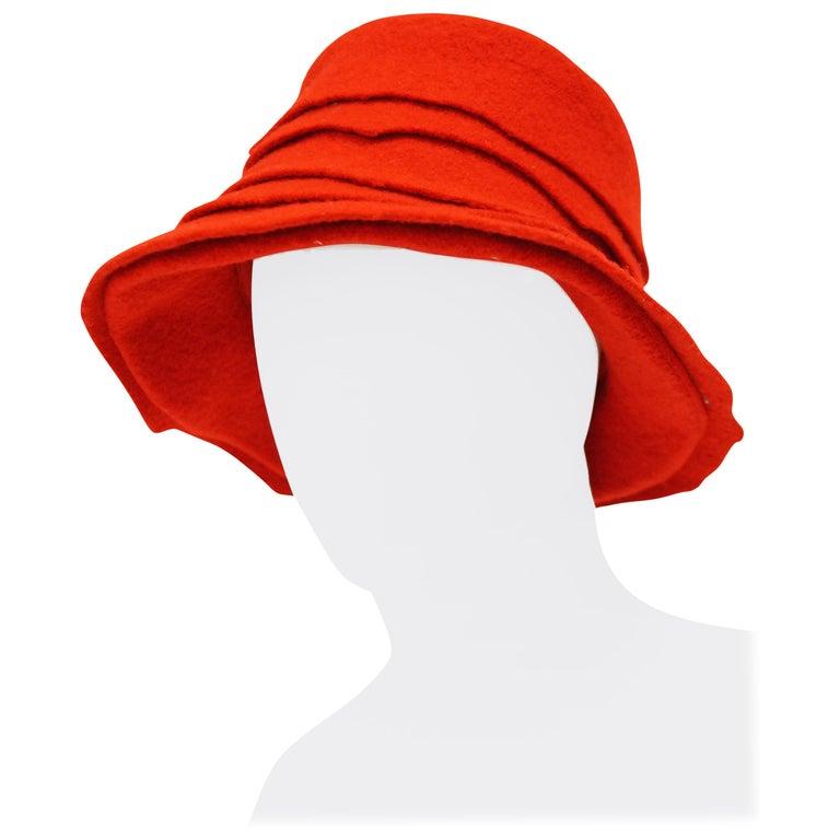 2001 Stephen Jones Rose Red Felt Layered Bucket Hat c434852f28f