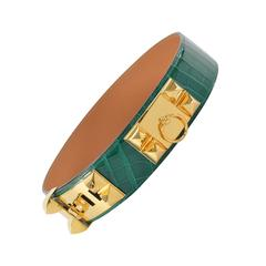 Hermes CROCODILE Belt Collier de Chien 75 CM Green 2014.