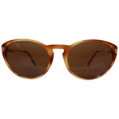 Cartier Tortoise Shell Composite 130 Sunglasses W/ Gold Tone Temples