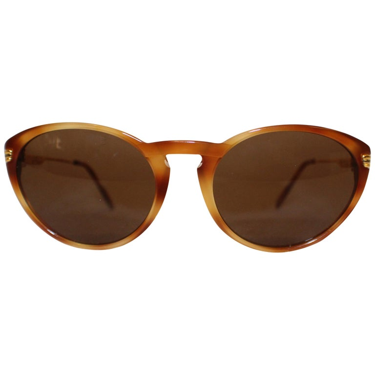 Cartier Tortoise Shell Composite 130 Sunglasses W/ Gold Tone Temples For Sale