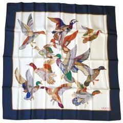 Gucci Silk Scarf Mallard Bird Flying Motif Blue Border New, Never worn