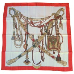 Gucci Silk Scarf Horse bridles Napoleonic Swords New, Never worn 1980s