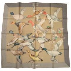 "Hermes ""Sauvagine en Vol"" Silk Scarf Ducks New, Never Worn in Original Box"