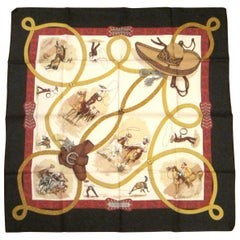 "Hermes ""Charreada"" Silk Scarf ""Jean De Fougerolle New, Never Worn with BOX"