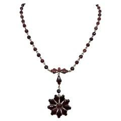 Circa 1920s Czechoslovakian Garnet Glass Necklace