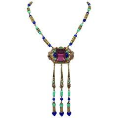 Circa 1920s Czech Egyptian Revival Pendant Necklace