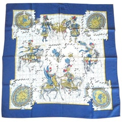 "Hermes Silk Scarf  ""Puzzle""  Francoise Heron Blue Border In box"