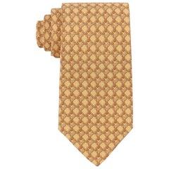 HERMES Butter Yellow Chain Link Print 5 Fold Silk Necktie Tie 59 EA