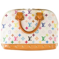 Louis Vuitton White Multicolor Monogrm Alma