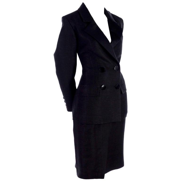 Yves Saint Laurent 1990s Vintage Black Silk Skirt & Blazer Suit w/ Satin Lapels For Sale