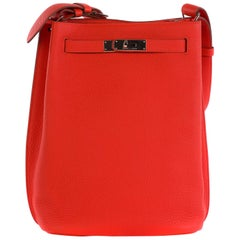 Hermes So kelly 22 Red Togo Silver hardware Q Stamp Never worn
