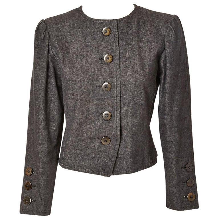 5aff9c66e3d Yves Saint Laurent Rive Gauche Cropped Denim Jacket For Sale at 1stdibs