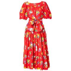 Yves Saint Laurent Rive Gauche Floral Pattern Cotton Skirt and Blouse Ensemble