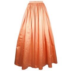 Vintage ESCADA COUTURE Size 6 Peach Silk Gathered A Line Ball Skirt