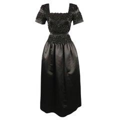 Vintage OSCAR DE LA RENTA Size 4 Black Beaded Satin Evening Gown