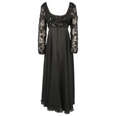 LOUIS FERAUD Size 12 Black Sequin Scoop Neck Empire Waist Chiffon Gown