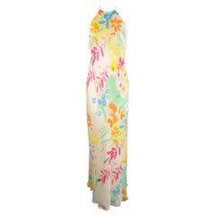 RALPH LAUREN Black Label 6 Cream Multi-Color Watercolor Floral Silk Dress Gown