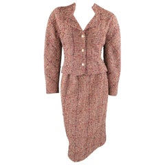 Vintage CHANEL Size M Red Cream & Navy Plaid Boucle Skirt Suit